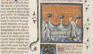 Jedno z najwcześniejszych przedstawień noszy. Autor anonimowy (tzw. Mistrz Księgi Koronacyjnej Karola V (przed 1380 r))