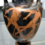 Amfora, na której przedstawiono Tezeusza i Prokrustesa, pochodzącą z 570–560 p.n.e.